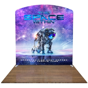 Our series of 8ft displays feature lightweight, easy-to-assemble frames, which are then snugly zipped up inside of our dye-sublimation printed, pillowcase-style custom fabric graphic or neatly tucked into our SEG extrusions!  This combination makes our 8ft displays THE solutions when looking for a highly customizable yet extremely portable display that will make you stand out in a crowd at trade shows, conventions, and other events and functions.  1.408.387.9421  or customerservice@project-tradeshow.com