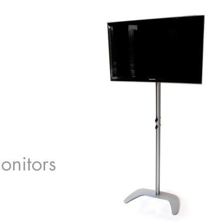 "The PTS Monitor Mount stand fits perfectly as an integrated flat screen monitor holder for your back wall or table top Pop-Up. Or simply use it as traditional flat screen floor monitor stand.  The Monitor Mount can be adjusted to a height of 70"" and the pole is divisible for optimized handling, transportation and storage.  Holds a 30"" minimum to 42"" maximum monitor size.  Specs: • Weight maximum is 60lbs • Holds up to a 42"" maximum monitor size or 60lbs. • Max Dimension: 70.875""h 25""w x 14.75""d • Weight: 25 lbs • Material: Aluminum"