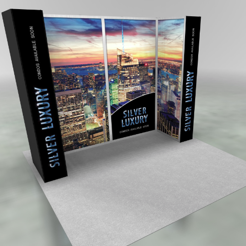 Our series of 10ft displays feature lightweight, easy-to-assemble frames, which are then snugly zipped up inside of our dye-sublimation printed, pillowcase-style custom fabric graphic or neatly tucked into our SEG extrusions!  This combination makes our 8ft displays THE solutions when looking for a highly customizable yet extremely portable display that will make you stand out in a crowd at trade shows, conventions, and other events and functions.  1.408.387.9421 or customerservice@project-tradeshow.com
